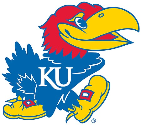 Harold D. Sandy designed this Jayhawk in 1946, and copyrighted it the following year. It's the smiling version of the Jayhawk that survives today.