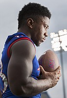 Kansas junior defensive end Damani Mosby (#13), photographed at a KU football media day event Saturday August 8, 2015.