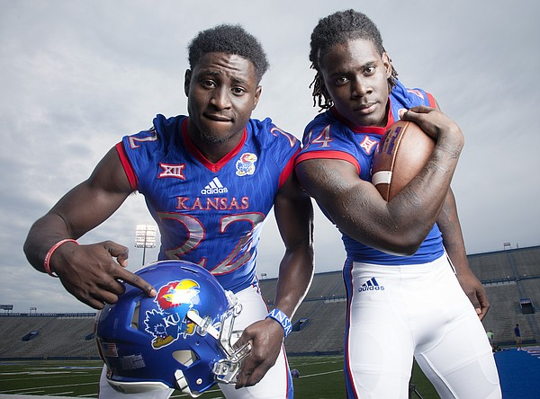 New KU running backs Ke'aun Kinner, left, (#22) and Taylor Martin, (#24) photographed at a KU football media day event Saturday August 8, 2015.