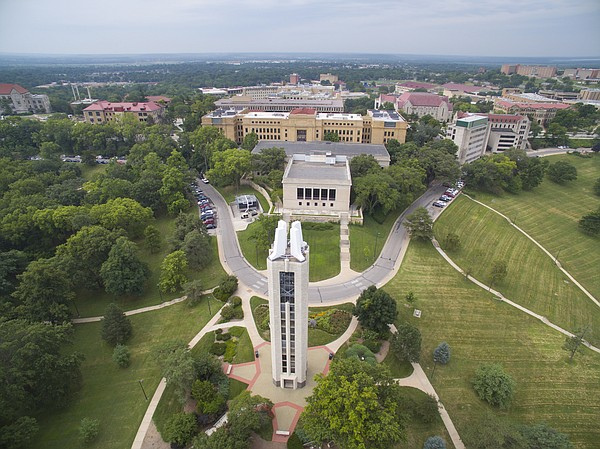An aerial photo of Kansas University's campus as it looks in August 2015.