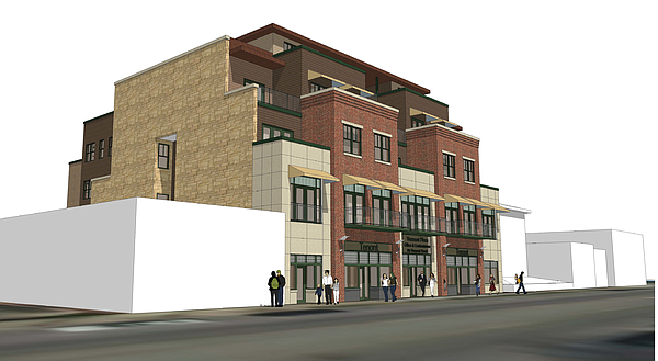 The latest renderings for a building at 815 Vermont Street. Courtesy: Hernly Architects