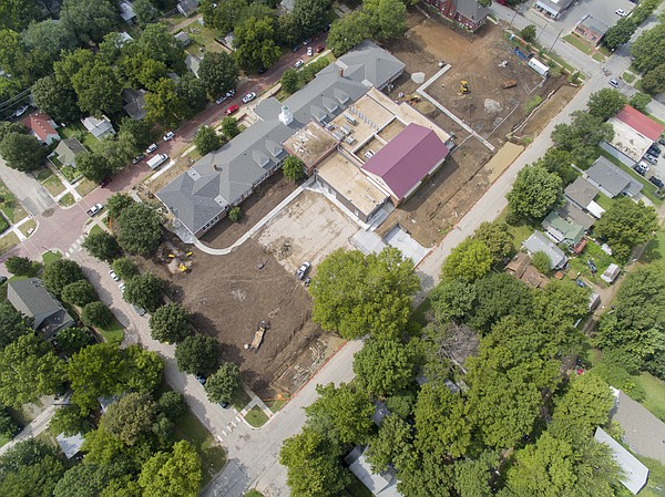 An aerial view shows the construction site at New York Elementary School on Tuesday, Aug. 18, 2015.