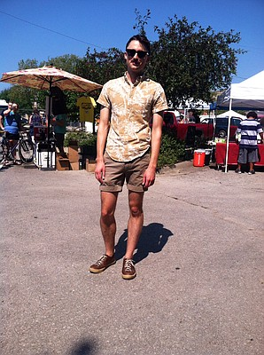 Clothing details: Camper, $120; shorts, J. Crew, $30; shirt, J. Crew, $30; sunglasses, Ray-Ban, $120.