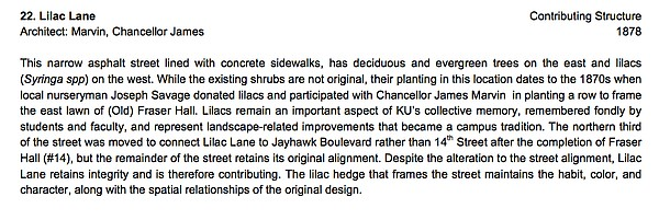 Information on Lilac Lane in the National Register of Historic Places Registration Form for the KU Historic District.