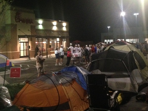 People camping outside of the Lawrence Chick-fil-A at 27th and Iowa streets in advance of the store's opening. Courtesy: Chick-fil-A.