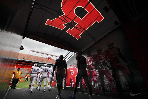 Kansas players take the field for warmups prior to kickoff against Rutgers on Saturday, Sept. 26, 2015 at High Point Solutions Stadium in Piscataway, New Jersey.