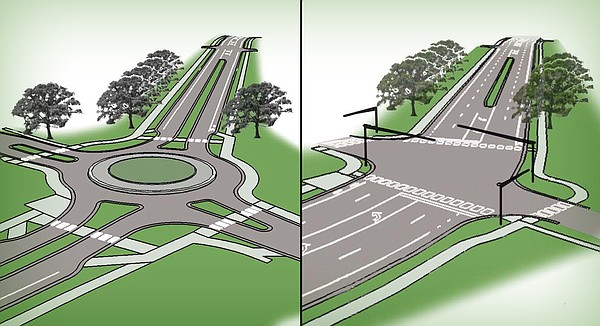 A rendering of the two reconstruction options for the intersection Kasold Drive and Harvard Road. The complete streets option, left, includes reduced lanes and a roundabout in exchange for more bike and pedestrian paths. The typical streets option, right, calls for the installation of a traffic signal at the intersection.