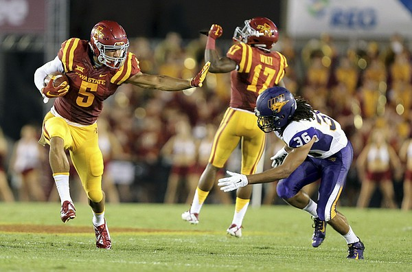 Iowa State wide receiver Allen Lazard looks to push Northern Iowa defensive back Jordan Webb away on a punt return during the first half of an NCAA college football game, Saturday, Sept. 5, 2015, in Ames, Iowa. (AP Photo/Justin Hayworth)