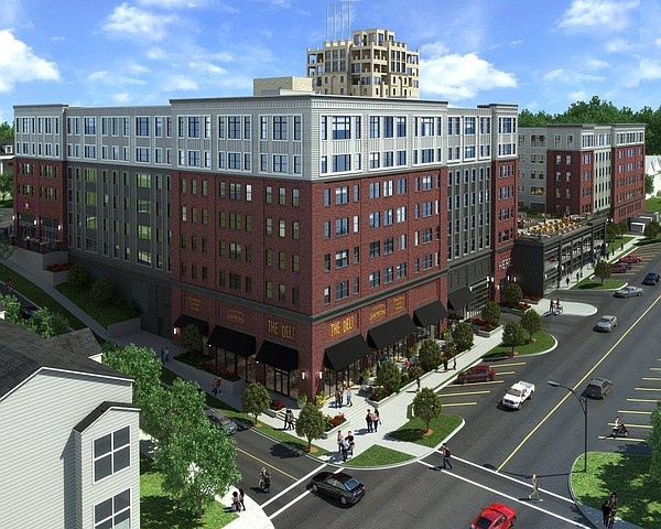 A rendering of the HERE Kansas luxury apartment complex, currently under construction at 1111 Indiana St.