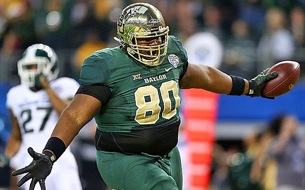 Baylor TE LaQuan McGowan celebrates a TD in last year's Cotton Bowl against Michigan State. (Getty Images)