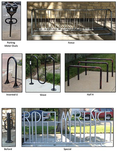 Several different types of bicycle parking are shown in these photos from the City of Lawrence.