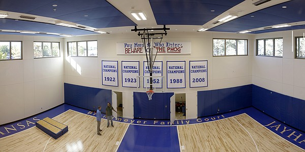 Brandmeyer Family Court, a half-court basketball facility, is one of the highlights of the new $11.2 million McCarthy Hall, which houses the Kansas men's basketball team.