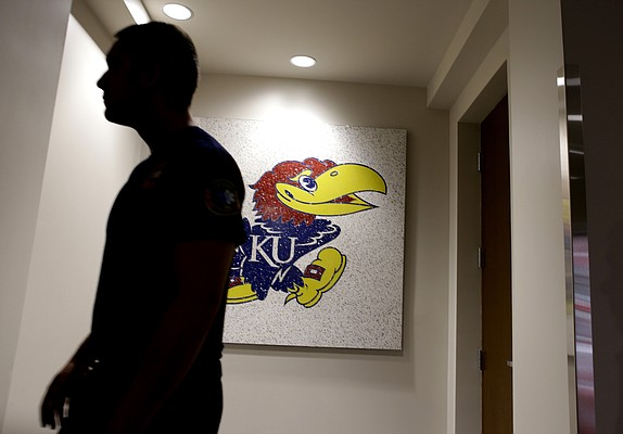 A Jayhawk hangs on a wall inside the new $11.2 million McCarthy Hall, which houses the Kansas men's basketball team.