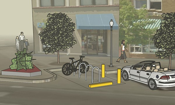 This sketch shows a bike corral design proposed for installation near Eighth and Massachusetts streets. In order to better reflect the street's actual layout, this image has been been flipped horizontally from the original rendering provided by the city of Lawrence.