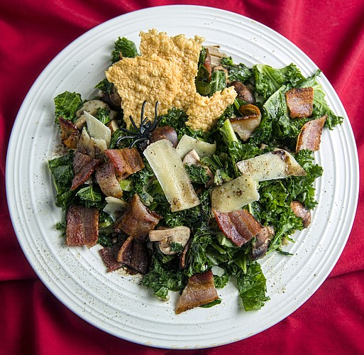 Warm Mushroom and Kale Salad with Bacon Balsamic Dressing