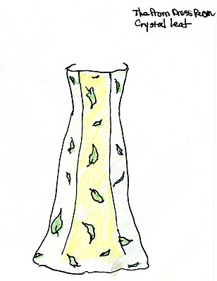 """Crystal Leaf"" illustration by Sandy Hazlett from her book of poems entitled ""The Prom Dress Room"""