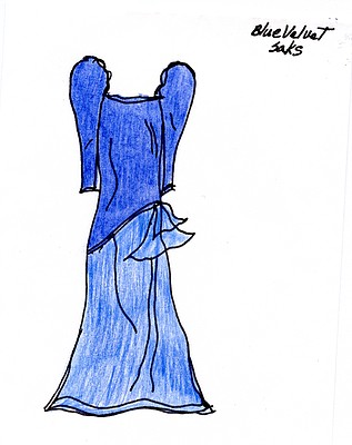 """Blue Velvet Saks"" illustration by Sandy Hazlett from her book of poems entitled ""The Prom Dress Room"""