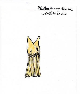 """Solitaire"" illustration by Sandy Hazlett from her book of poems entitled ""The Prom Dress Room"""