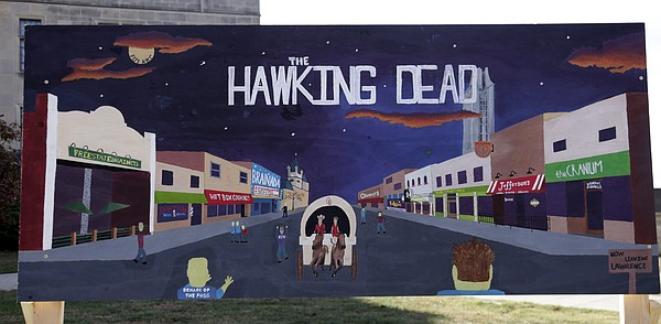 "An entry from the annual KU Sign Competition interpreting the 2015 homecoming theme, ""Ghosts of Jayhawks Past."""