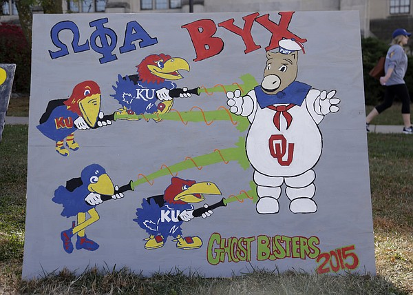 "Annual KU Sign Competition interpreting this years homecoming theme - ""Ghosts of Jayhawks Past""."