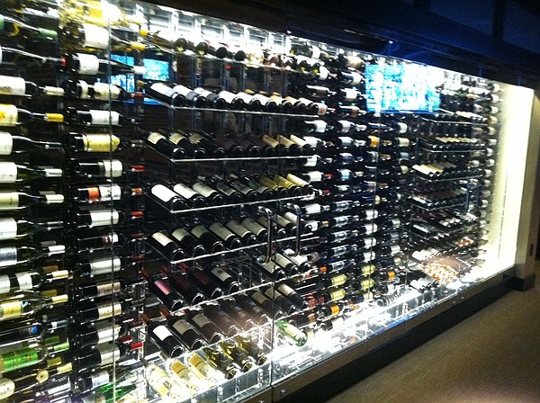 A wine display at the newly expanded Six Mile Chop House.
