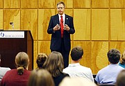 Jeffrey S. Vitter, selected by the state college board as the preferred candidate for Chancellor of the University of Mississippi, speaks with medical students at the University of Mississippi Medical Center, Wednesday, Oct. 28, 2015, in Jackson, Miss.