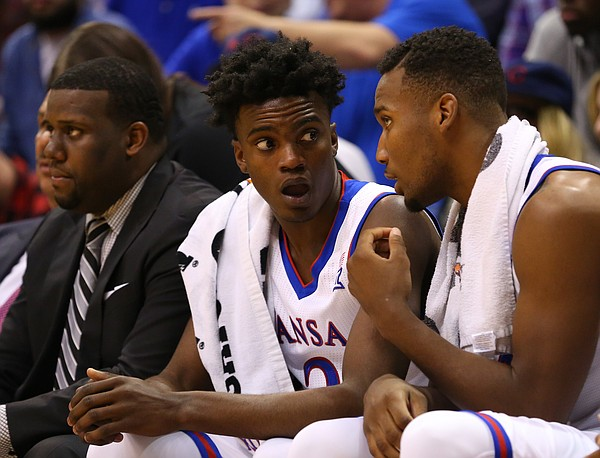 Kansas guard Lagerald Vick turns to teammate Kansas guard Wayne Selden Jr., right, for a talk during the second half, Friday, Nov. 13, 2015 at Allen Fieldhouse.