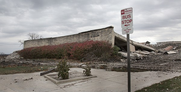 Rubble remains after the implosion of KU's McCollum Hall on Wednesday, Nov. 25, 2015.