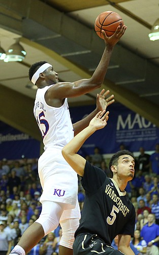 Kansas forward Carlton Bragg Jr. (15) pulls up for a bucket over Vanderbilt guard Matthew Fisher-Davis (5) during the second half, Wednesday, Nov. 25, 2015 at Lahaina Civic Center in Lahaina, Hawaii.