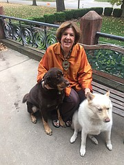 Gayle Krigel with her dogs Mousse, left, and Shammy in Kansas City, Mo.