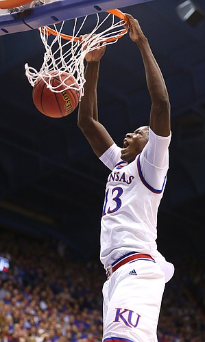 Kansas forward Cheick Diallo (13) delivers on a lob jam during the second half, Tuesday, Dec. 1, 2015 at Allen Fieldhouse.