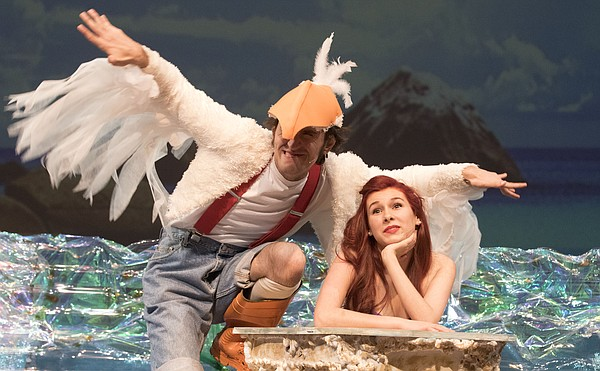 Mark Mancini and Amy Nystrom run through a scene during a dress rehearsal for Theatre Lawrence's upcoming production of The Little Mermaid on Wednesday night. The show premieres Friday, Dec. 4, 2015 with curtains going up at 7:30 p.m.