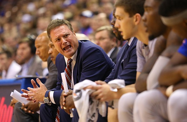 Kansas head coach Bill Self yells at his bench during a Harvard run in the second half, Saturday, Dec. 5, 2015 at Allen Fieldhouse.