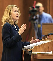 Janet Crepps, a senior attorney for the Center for Reproductive Rights makes oral arguments in front of the full, 14-member Kansas Court of Appeals in Topeka, Kan., Wednesday, Dec. 9, 2015. The lawsuit against a Kansas ban on a common second-trimester procedure has forced the state Court of Appeals to consider how much the state constitution protects abortion rights.