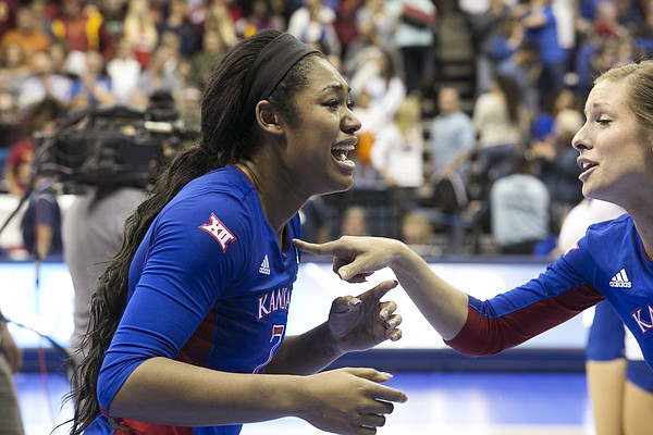 Kansas University senior Tiana Dockery lets her emotions out after the Jayhawks' five-set victory over Southern Cal on Saturday, Dec. 12, 2015, in San DIego.
