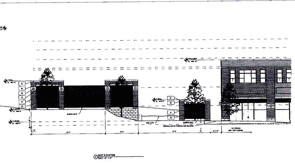 Renderings of the proposed Here @ Kansas parking garage that would be located at 1137 Indiana Street. This is the view that would be seen from Indiana Street. Courtesy: City of Lawrence