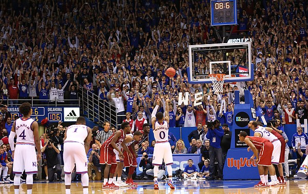 Kansas guard Frank Mason III (0) hits the second of two free throws with 8.6 seconds remaining in the third overtime, Monday, Jan. 4, 2016 at Allen Fieldhouse.