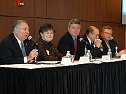 Kansas lawmakers from both sides of the aisle share their views about expanding the state's Medicaid program, known as KanCare, during a forum at Johnson County Community College in Overland Park on Jan. 5, 2016. Those participating included, from left: Sens. Jim Denning, R-Overland Park; Laura Kelly, D-Topeka; and Jeff King, R-Independence; and Reps. Jerry Henry, D-Atchison; and Mark Hutton, R-Wichita.