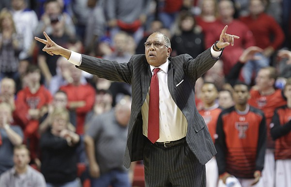Texas Tech head coach Tubby Smith directs his defense during the second half, Saturday, Jan. 9, 2016 at United Spirit Arena in Lubbock, Texas.