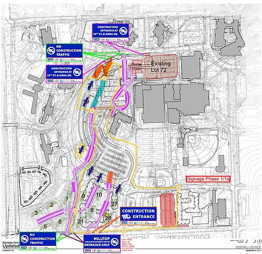 This map, provided by KU in January 2016, shows some of the traffic re-routing planned for KU's Central District as redevelopment of the area kicks off. Image courtesy of Kansas University.