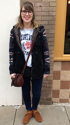 Clothing details: Coat, Forever 21, $30-40; sweatshirt, bought in Florence, Italy; jeans, Forever 21, $10; shoes, Christmas gift; bag, Amazon, $40