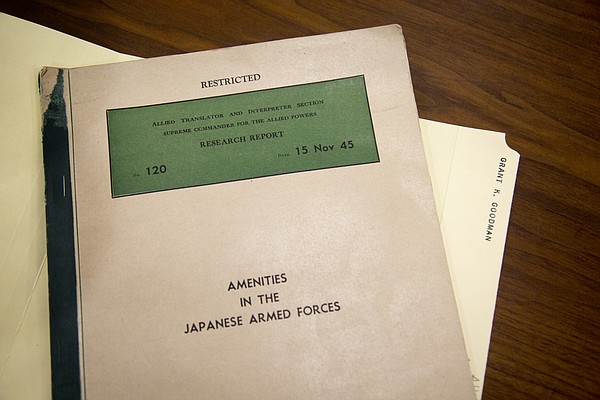 """Research Report No. 120: Amenities in the Japanese Armed Forces"" is part of former KU professor Grant Goodman's personal papers, now located in the University Archives at KU's Spencer Research Library. The report, which Goodman translated for the U.S. Army during World War II, proves Japan had government-controlled brothels — featuring enslaved ""comfort girls"" from across Asia — specifically for its military men's pleasure during World War II."