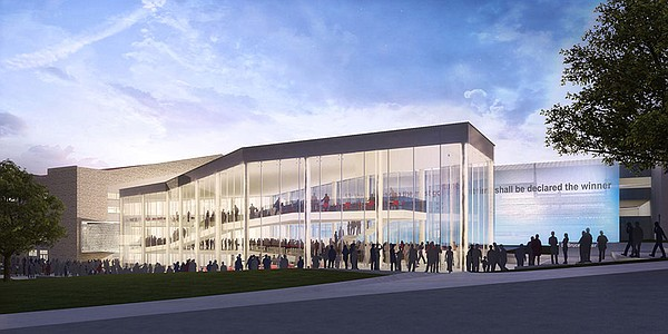 Rendering of KU's DeBruce Center by Gould Evans Architecture.