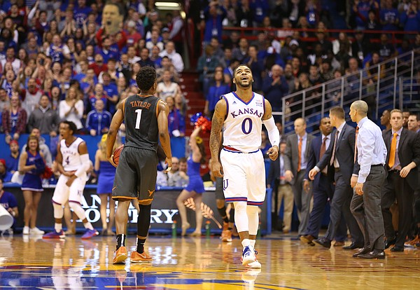 Kansas guard Frank Mason III (0) celebrates during a Texas timeout in the second half, Saturday, Jan. 23, 2016 at Allen Fieldhouse.