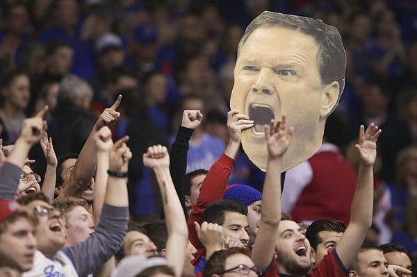 A fiery Bill Self head is hoisted up among the students during the first half, Saturday, Jan. 23, 2016 at Allen Fieldhouse.