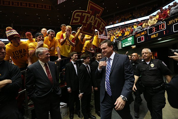 Kansas head coach Bill Self is greeted by the Iowa State students as he takes the court, Monday, Jan. 25, 2016 at Hilton Coliseum in Ames, Iowa.