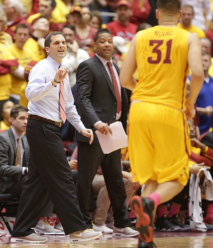 Iowa State head coach Steve Prohm gets the attention of  forward Georges Niang (31) as he gets back on defense during the second half, Monday, Jan. 25, 2016 at Hilton Coliseum in Ames, Iowa.