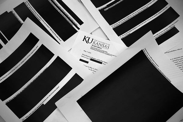 These are several of the most heavily redacted pages that Kansas University provided to the Journal-World after the newspaper filed an open-records request for documents related to two fraternities currently on probation for hazing. KU redacted information throughout the 23-page batch of documents, including all descriptions of the nature of hazing activities. KU says it redacted the documents to protect the identity and privacy of fraternity members.