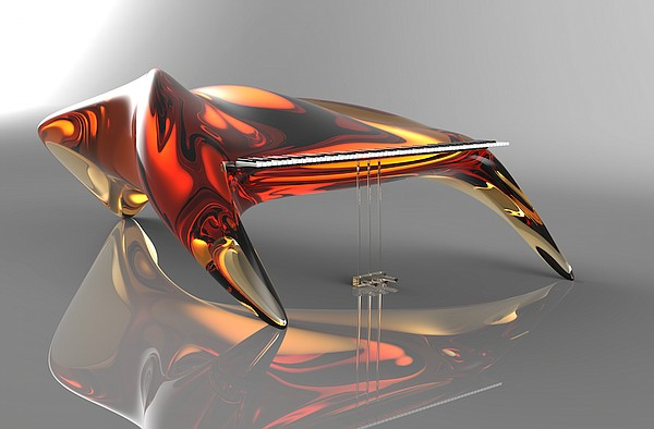 "This digitally created image shows a piano design by Rebekah Winegarner, a Kansas University industrial design student from Overland Park, that was among seven winners of the Roland Corporation's 2015 Digital Piano Design Awards. The design is entitled, ""Amber Unleashed."""