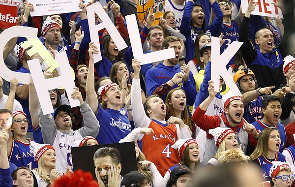 Kansas fans celebrate during filming of the ESPN College GameDay at Allen Fieldhouse, Saturday, Jan. 30, 2016, hours before the tip-off between KU and ]Kentucky men's basketball game.